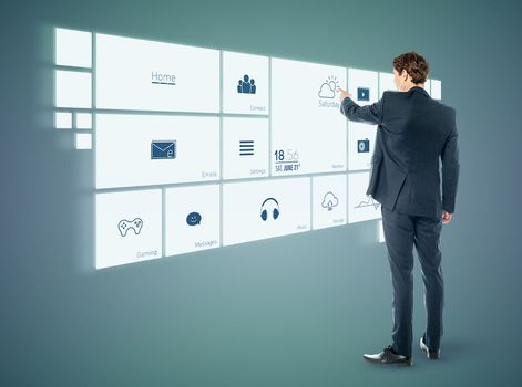 Businessman working with virtual surface
