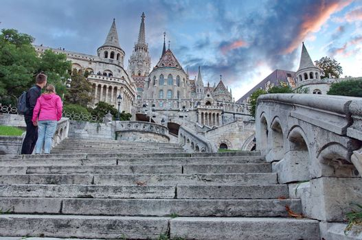 Budapest, HUNGARY - AUGUST 24: Old Unknown couplet at Fisherman's Bastion in Budapest, Hungary on August 24, 2014