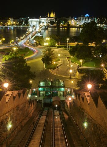 Funicular at night in Budapest