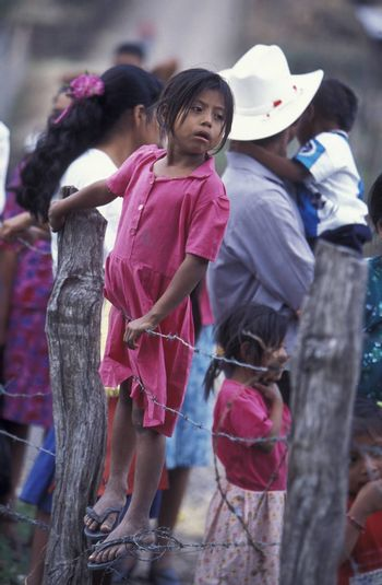 childern in the old town of the city Copan in Honduras in Central America,