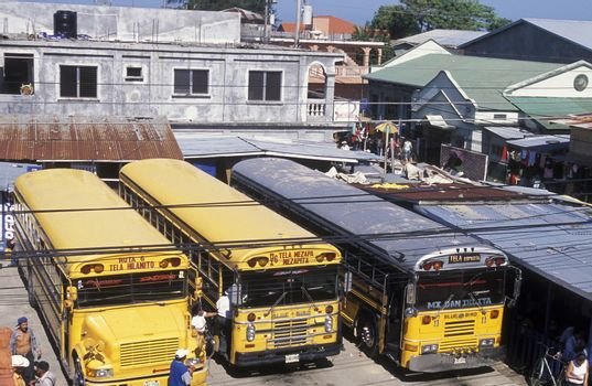 The Bus Terminal of the city of Tela near San Pedro Sula on the caribian sea in Honduras in Central America,