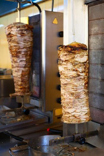 Grilled meat used for making a traditional greek gyros stuffed sandwich