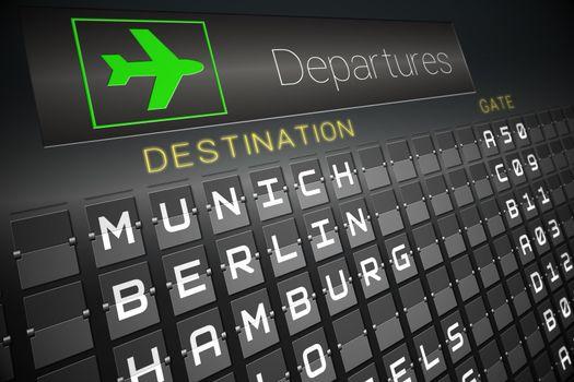 Black departures board for german cities