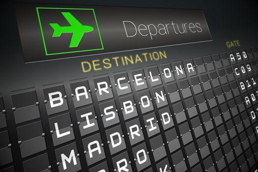 Black departures board for european cities