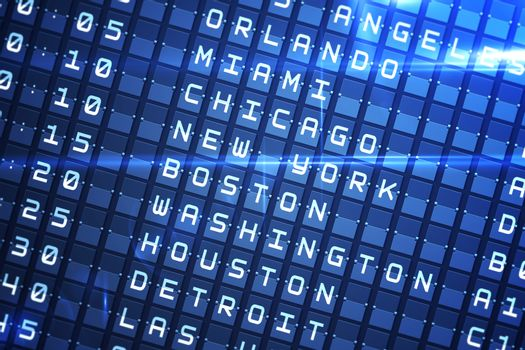 Blue departures board for major usa cities