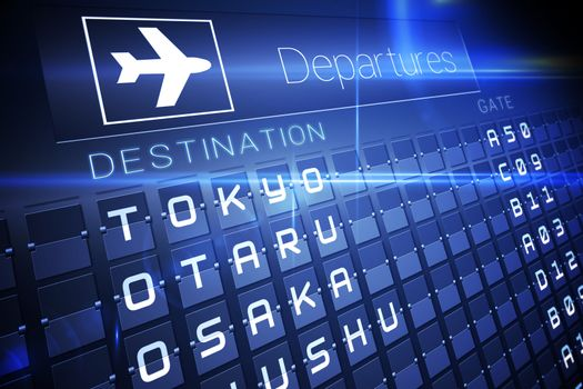 Blue departures board for major asian cities