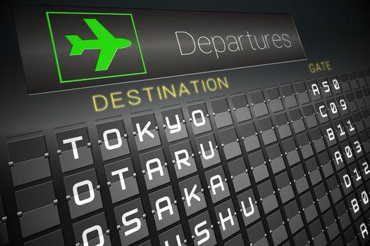 Black departures board for japan