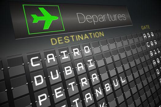 Black departures board for cities