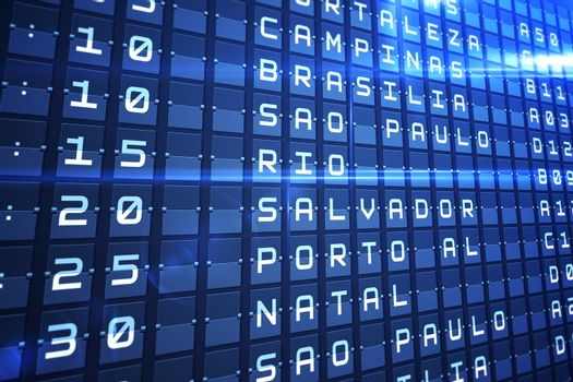 Blue departures board for major south american cities