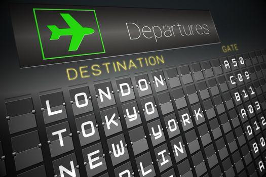 Black departures board for major cities