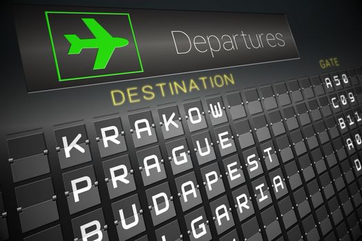 Black departures board for eastern european cities