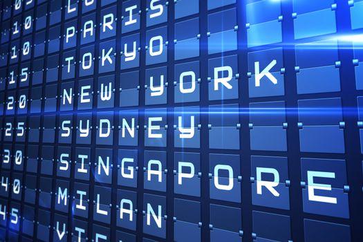 Blue departures board for major cities