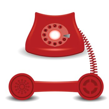 colorful illustration with  old red phone on a white background