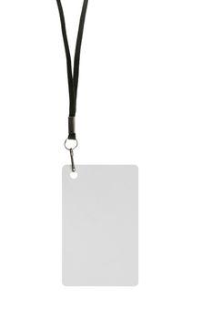 Blank badge with neckband on white background