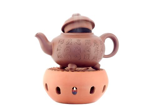 Iarge clay kettle
