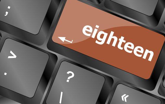 enter keyboard key with eighteen button