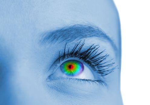 Psychedelic eye on blue face
