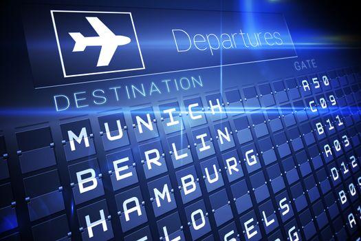 Blue departures board for german cities
