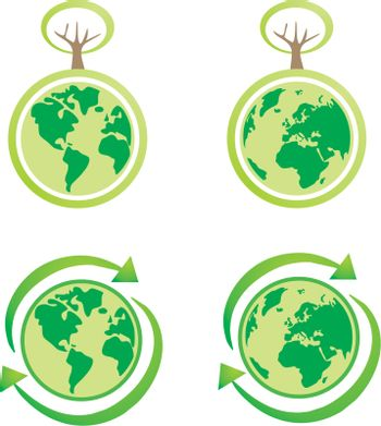 Vector eco icons. World globe isolated on white background with North and South America, Greenland, Africa, Europe and Asia. Planet Earth symbol or logo with green leaf or yellow sun for web design