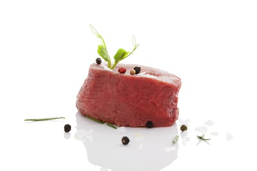 Big raw steak isolated.