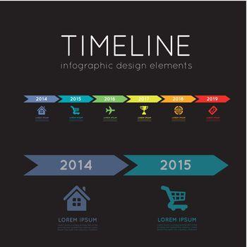 Timeline element vector infographic on black background