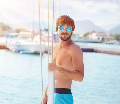 Handsome man on yacht
