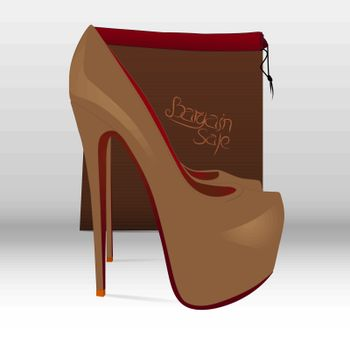 Illustration of a shoe and a paper bag with the inscription