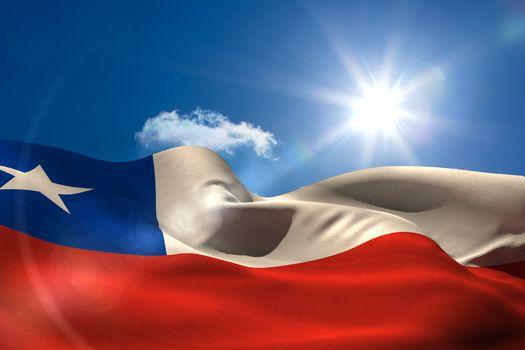 Chile national flag under sunny sky