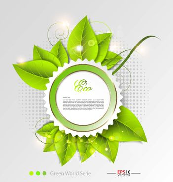Design of a fresh leaves vector background template for text inclusion