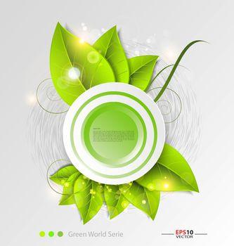 Fresh leaves vector background template for creative design tasks