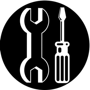 Repair icon with wrench and screwdriver, vector.