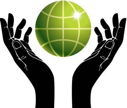 Hands and earth vector symbol, ecology care vector illustration.