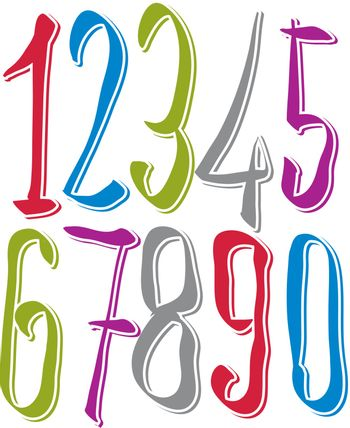 Calligraphic numbers, vector numeration.