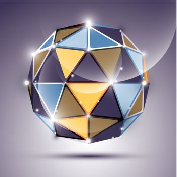 Abstract 3D gleam sphere with geometric, glossy orb created from