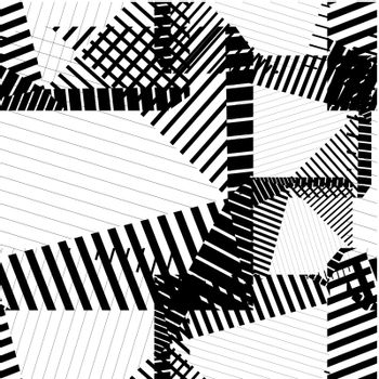 Black and white rhythmic textured endless pattern, continuous gr