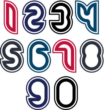 Stylish unusual rounded numbers, colorful extraordinary numerati