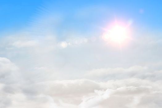 Blue sky with sunshine and clouds