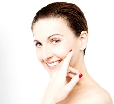 Woman with healthy clear skin on a face