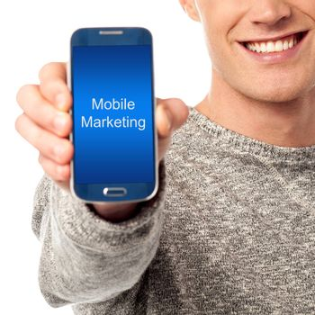 Hand holds phone with mobile marketing words on its screen