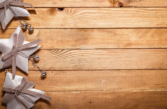 Christmas and New Year decorations on wooden background.