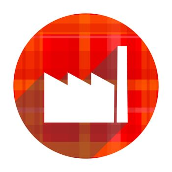 factory red flat icon isolated