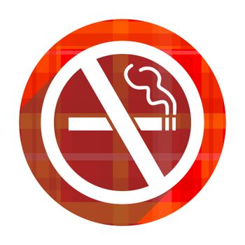no smoking red flat icon isolated