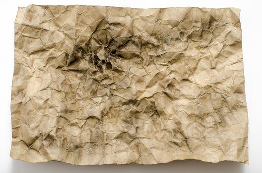 old crumpled paper burn