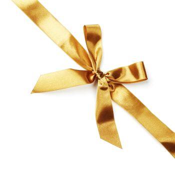 Golden satin bow ribbon on white