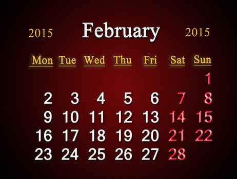 beautiful claret calendar on February of 2015 year