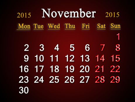 beautiful claret calendar on November of 2015 year
