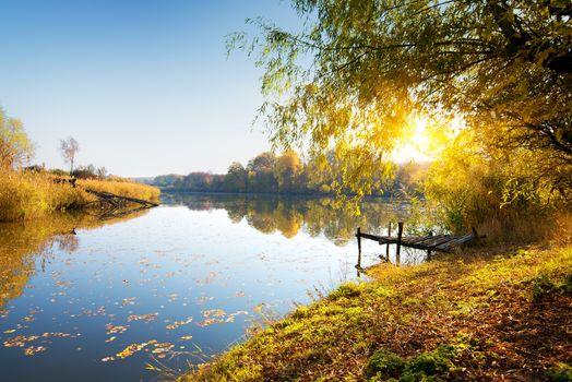 Autumn and calm river