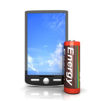 A generic Smartphone with a Battery. 3D rendered illustration isolated on white.