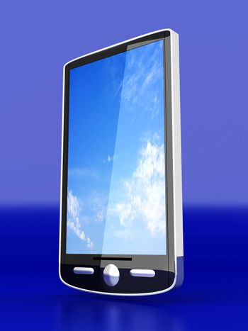 A Smartphone. 3D rendered illustration. Isolated on white.