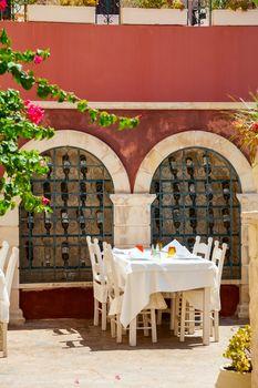 Interior of open air restaurant in Crete